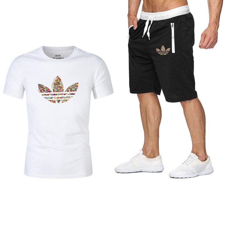 2019Summer New Men's Set Short Casual Suits Sportswear Mens Clothing Man Two Pieces Fashion Print Sets Male Sweatshirt Men Brand