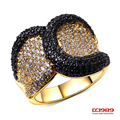 DC1989  Rhodium Gold 2 Tones Plated Big Punk Rings For Women Synthetic Cubic Zirconia Deluxe Hypoallergenic Lead Free