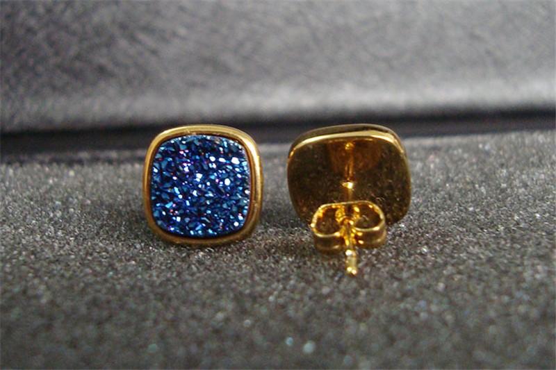 Brazil Hot Design Female Druzy Bijoux Gold Plated Round Blue Quart Natural Agate Druzy Earrings Fashion Stud Earrings for Women-5