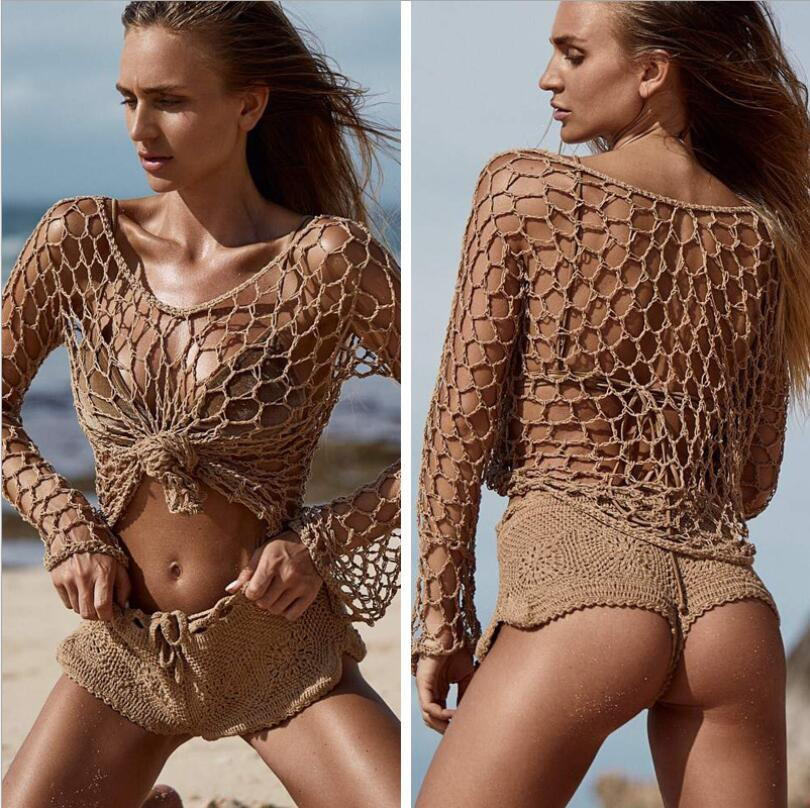 2019 Women Sexy Crochet Beach Cover Up Fishnet Sarong Wrap Bikini Cover Handmade Swimwear Smock One Piece Summer Beach Dress