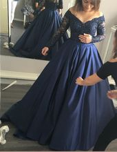 Vestidos De Festa Longo Scalloped Neck Long Sleeve Ball Gown Long Prom Gown Navy Blue Satin And Lace Beading Dress Evening Dress