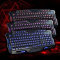Novo 3 Cores Crack Backlight Teclado Gaming Profissional USB Teclado Iluminado Led Retroiluminado Gaming Keyboard Para PC