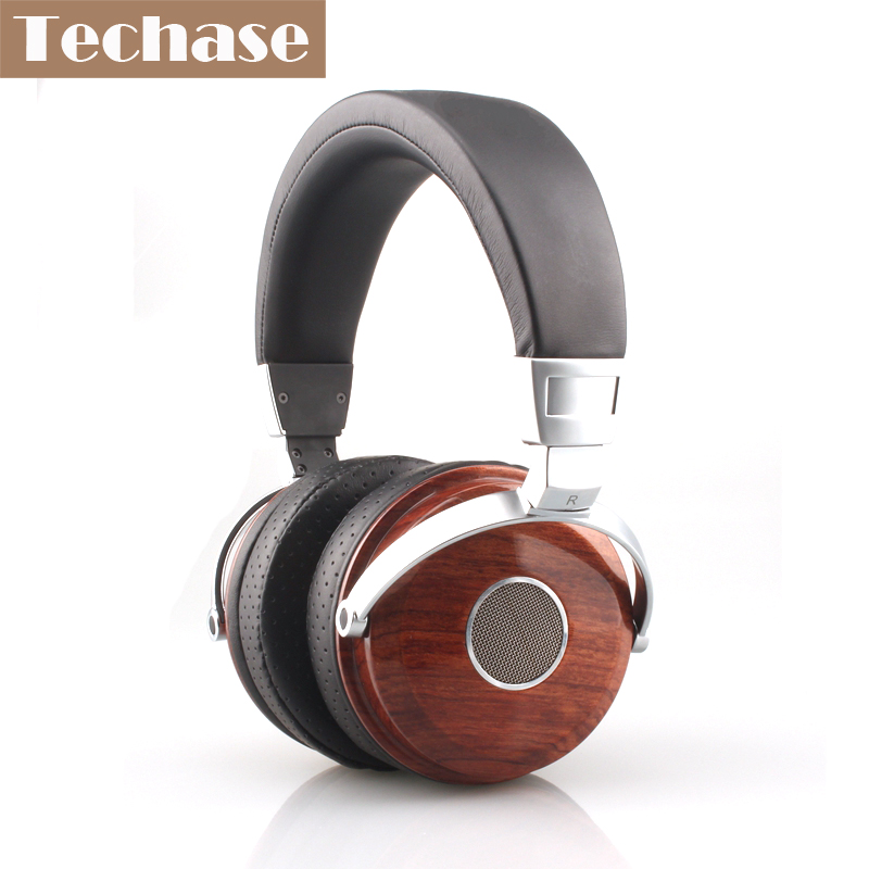 Techase Luxury Wooden Headphones HiFi Monitor Headphone High-end Wired Music Headset For All Mobile Phone Fone De Ouvido Musica bluetooth earphone headphone for iphone samsung xiaomi fone de ouvido qkz qg8 bluetooth headset sport wireless hifi music stereo
