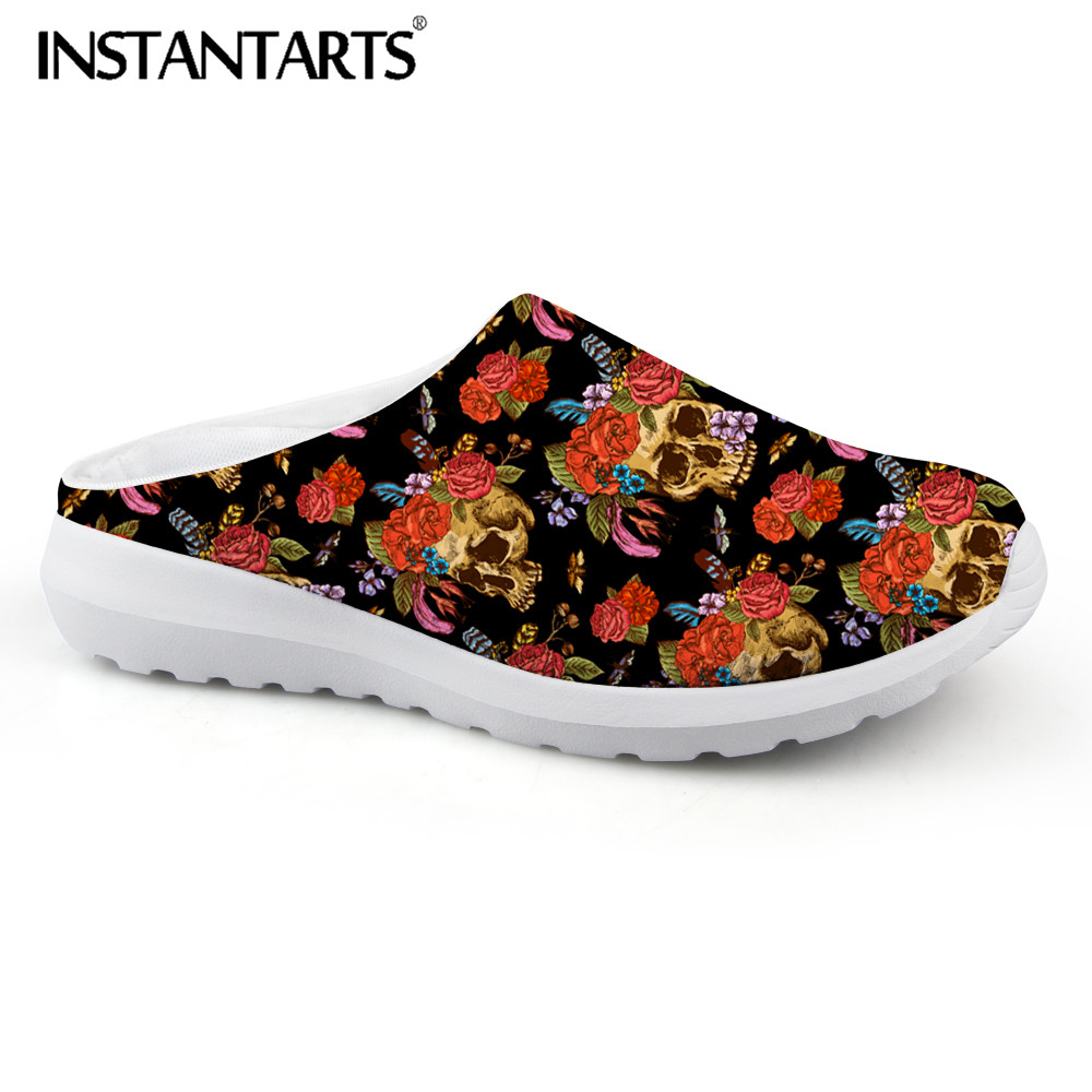 INSTANTARTS Women Casual Light Beach Flats Sandals 3D Skull Punk Printed Air Mesh Slip-on Woman Slipper Ladies Comfortable Shoes instantarts women casual light beach flats sandals 3d skull punk printed air mesh slip on woman slipper ladies comfortable shoes