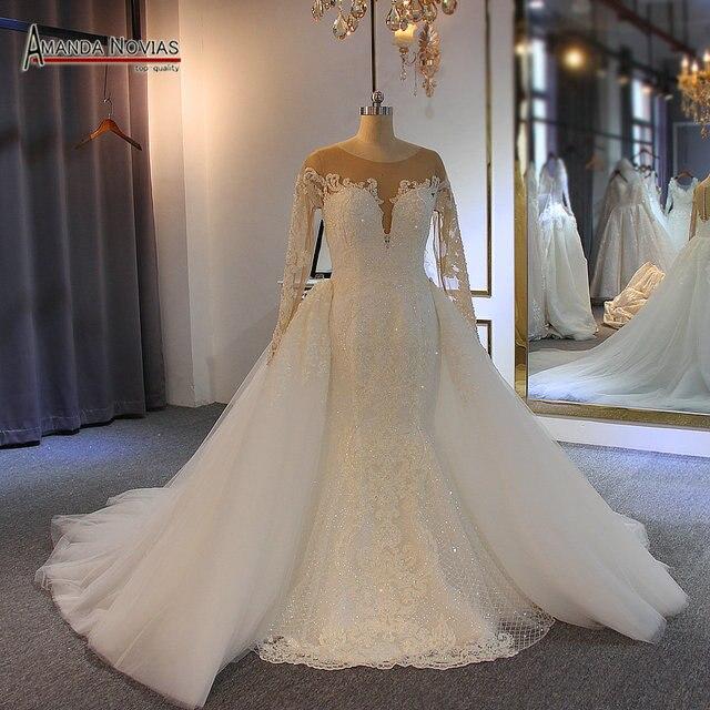 Robe de soiree 2019 del merletto della sirena abito da sposa con staccabile pannello esterno