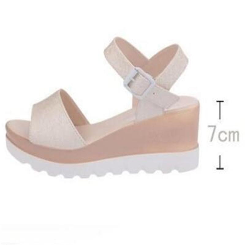 summer sandals new muffin thick bottom wedge with waterproof platform student buckle with a buckle female sandals