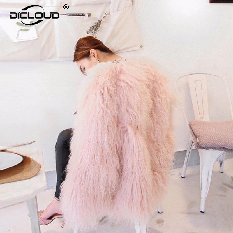 Womens Pink Fuzzy Faux Fur Coat Jacket