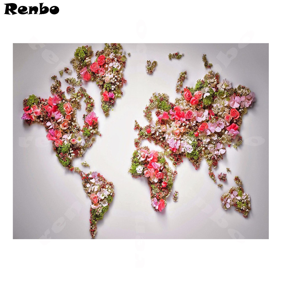 "set of 3 parts Bead Embroidery DIY Kit /""World map/"""