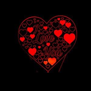 I Love You 3D Heart Shape LED