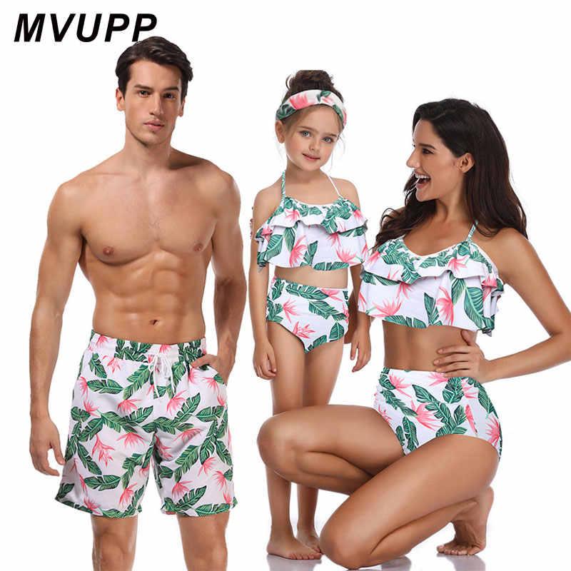Одинаковые купальники для всей семьи; пляжная одежда; купальник для мамы и дочки; одежда для папы и сына; платья; бикини с высокой талией для мамы