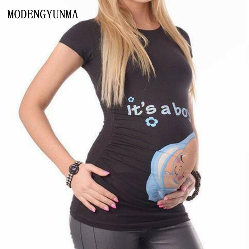 MODENGYUNMA Maternity tops for pregnant women short sleeve pregnant t shirt with baby girl print tees funny pregnancy t-shirts цена 2017