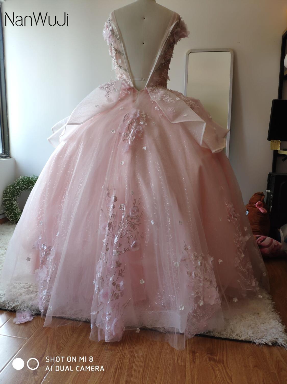 Robes de Quinceanera rose gonflées 2019 haut perlé doux 16 robes de bal ans robe de bal de fête d'anniversaire - 3