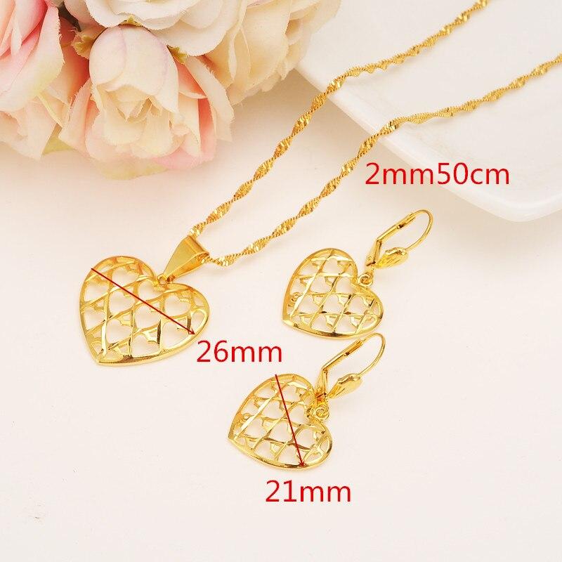 2c6278a1783d Nueva caliente romántica corazón colgante collar cadena Pendientes Sets  joyería 14 K fina verdadera GF oro
