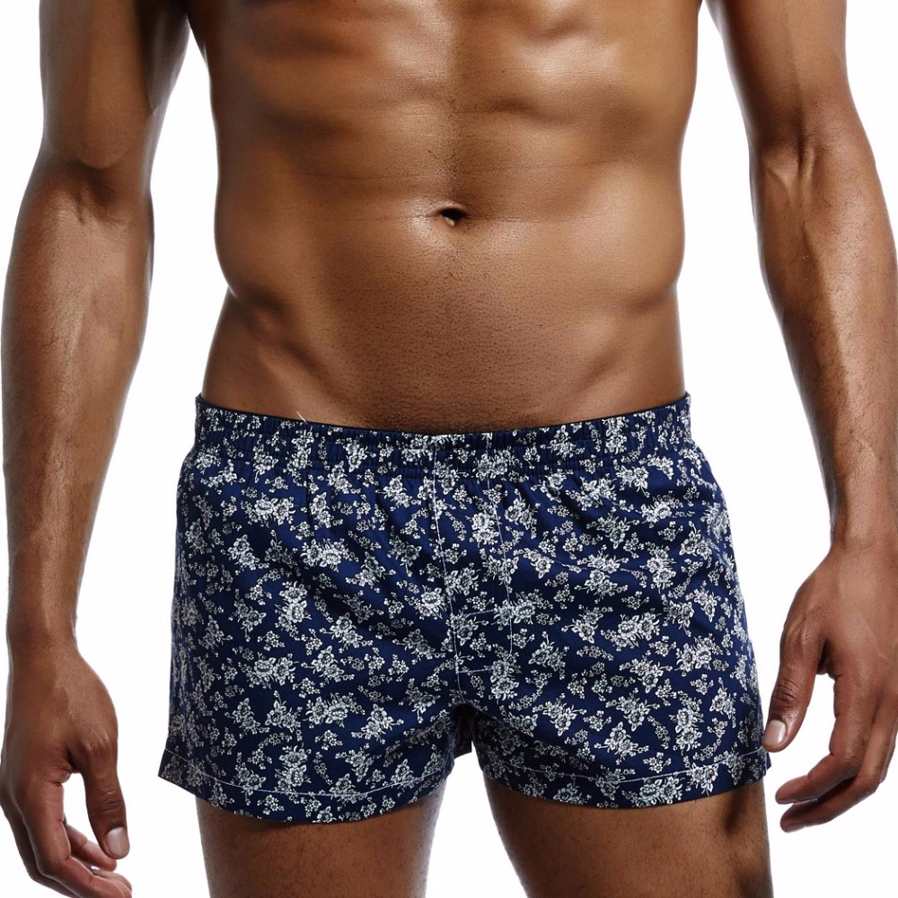 New High Quality 100% Cotton Underwear Fashion Sleep Shorts Men Home Loose Short Pants Summer Leisur Printed Cotton Plus Size