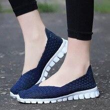 Женская обувь; коллекция года; летняя повседневная обувь на плоской подошве; дышащая женская тканая обувь; женские лоферы без застежки; обувь ручной работы; Размеры 35-40