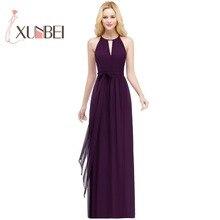 33a9646a8 Vestido de festa longo una línea púrpura vestidos largo 2019 Halter Simple  gasa baile boda Vestido de fiesta vestidos