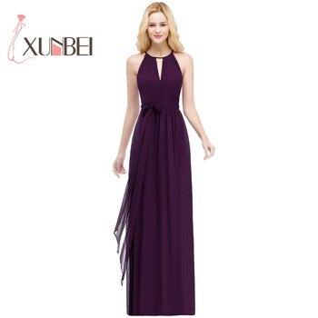7c902469cd2 Vestido de festa longo una línea púrpura vestidos largo 2019 Halter Simple  gasa baile boda Vestido de fiesta vestidos
