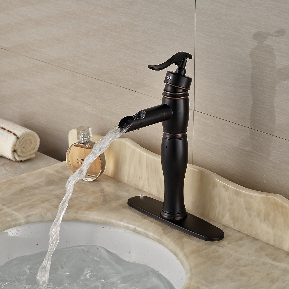 Single Hole Brass Bathroom Vessel Sink Faucet Basin Mixer Tap Single Handle  with 8 Hole Cover waterfall spout basin sink faucet golden finish bathroom mixer tap solid brass single handle with hole cover plate