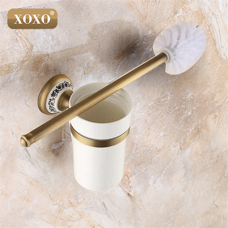 XOXO High quality Luxury Antique bronze finish toilet brush holder with ceramic cup household products bath decoration 11081BT