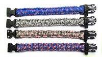 12pcs Mix Colors Paracord Bracelet Desert Camouflage Custom Color Plastic Buckle With Whistle Wholesale Free