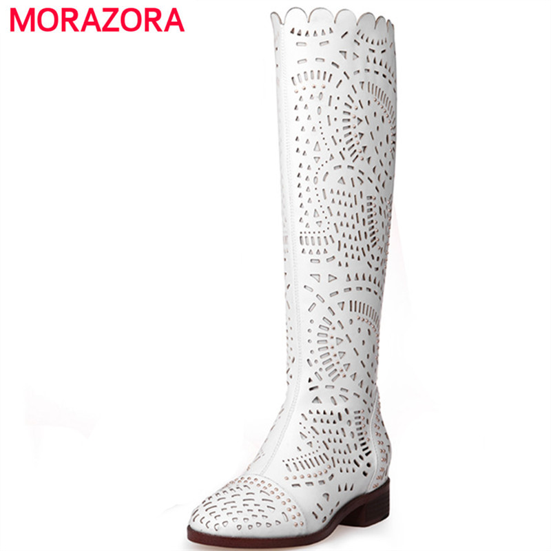 MORAZORA 2018 Summer new fashion boots cut-outs knee high boots PU soft leather square heels sexy women cool boots patent leather knee high fashion women boots buckle strap cool motorcycle boots thin high heels cut outs sandals boots shoes