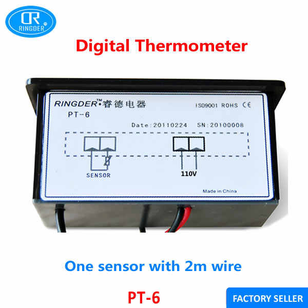 Ringder pt 110vac-40〜110cユニバーサルデジタル温度計温度インジケータ付き2メートルntcセンサーワイヤー送料無料2ピース