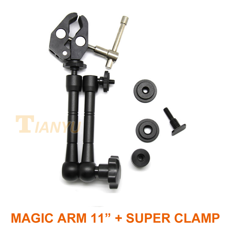2 in1 11 inch Articulating Magic Arm+Super Clamp for Camera Camcorder LCD Monitor LED Light DSLR Rig Movie Kit Free Shipping Kit