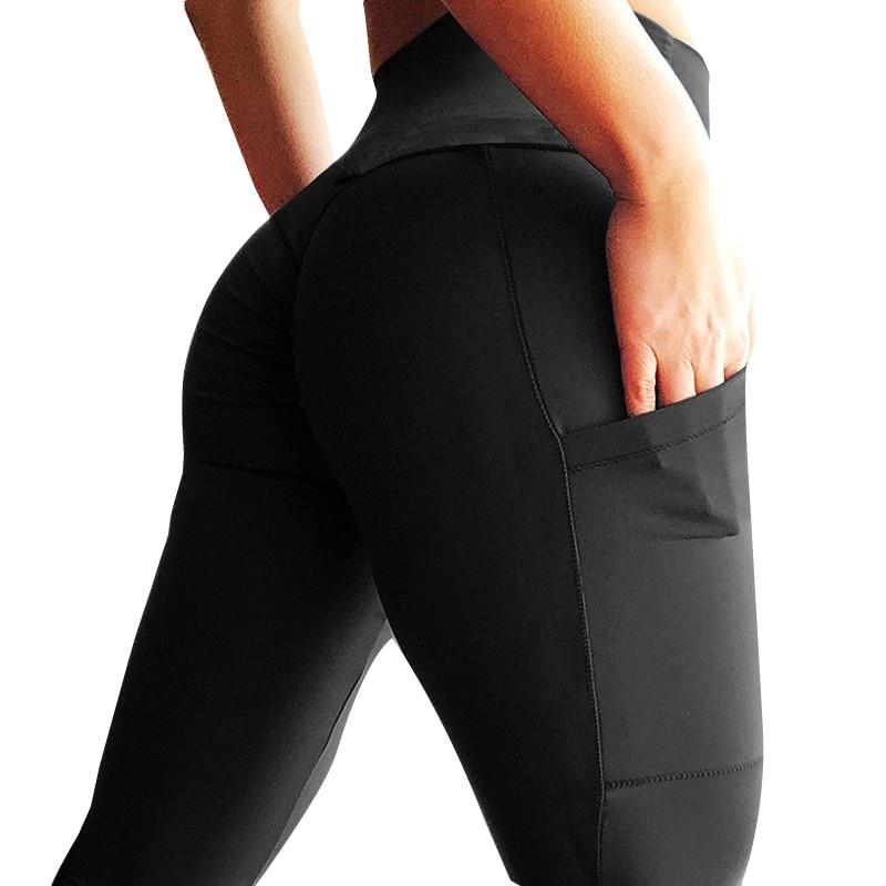 Push Up Leggings Mujer Fitness Legging entrenamiento de cintura alta bolsillos moda sólido Bodybuilding Jeggings mujeres