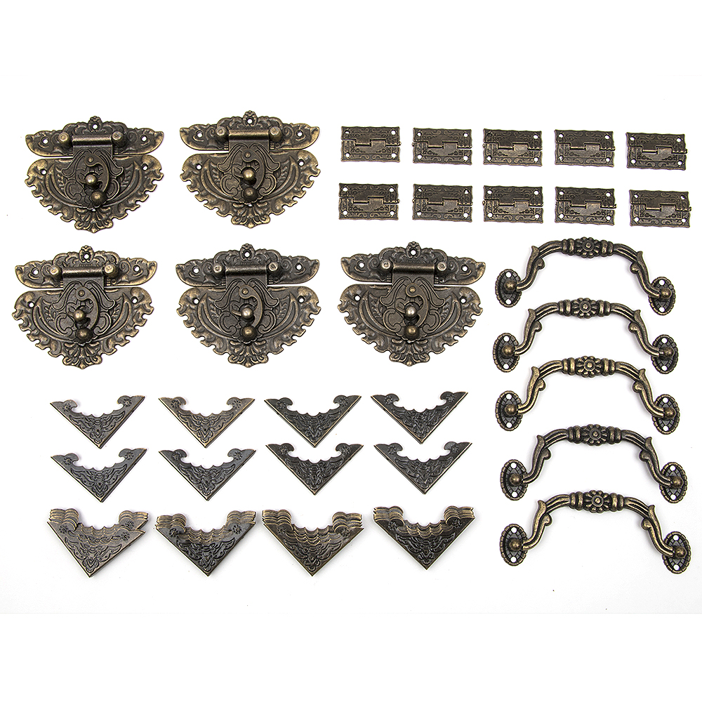 60pcs Drawer Jewellery Wood Box Cabinet Door Hasp Lock Hook Latch Butt Hinges Handle Decorative Corners
