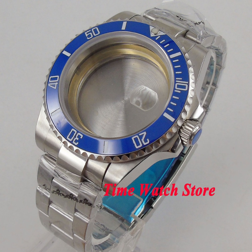 Fit ETA 2836 movement 40mm 316L stainless steel watch case ceramic bezel date magnifier sapphire glass