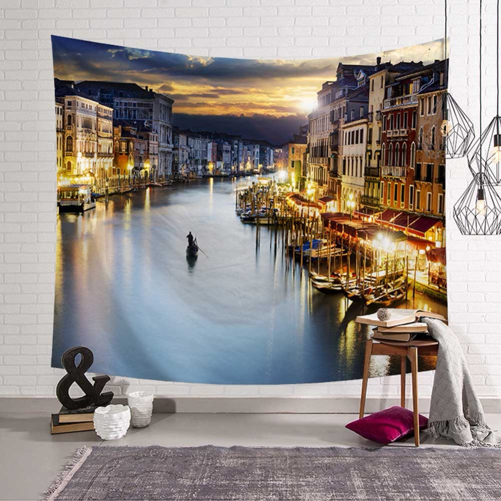 Venice Water City Tapestries London Tower Bridge Wall Hanging Home Decoration Pyramid Bangkok Beach Towel Polyester Woven in Tapestry from Home Garden