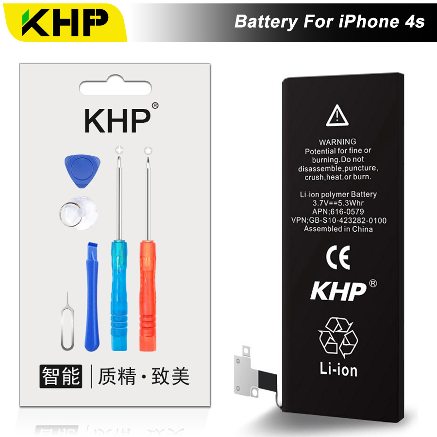 NEW 2017 100% Original KHP Phone Battery For iPhone 4S Battery 1430mAh Repair Tool 0 Cycle Replacement Mobile Batteries Sticker