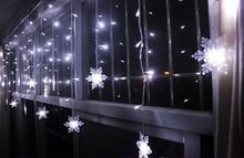 Multi-color 4m LED Holiday Curtain Decoration Christmas Wedding Light String Strip 100 SMDs 18 Snowflake Lamp 110V/220V