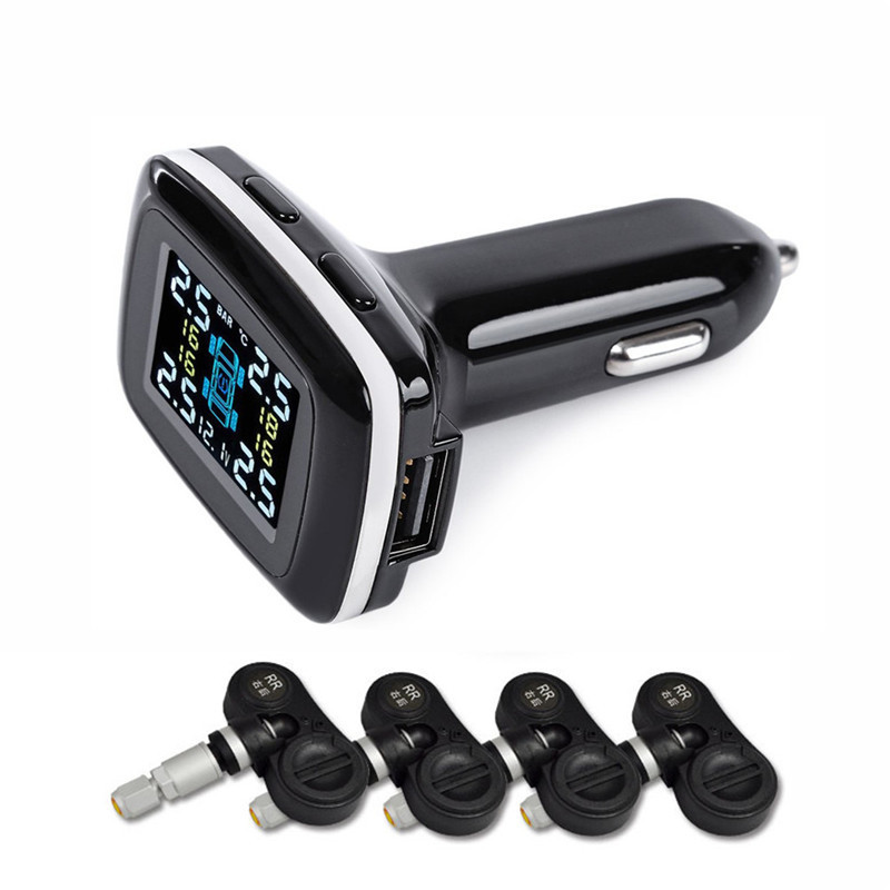 2017 12V Professional Wireless Smart TPMS Real Time Digital Tire Pressure Monitoring System Tire Pressure Alarm Car Charger