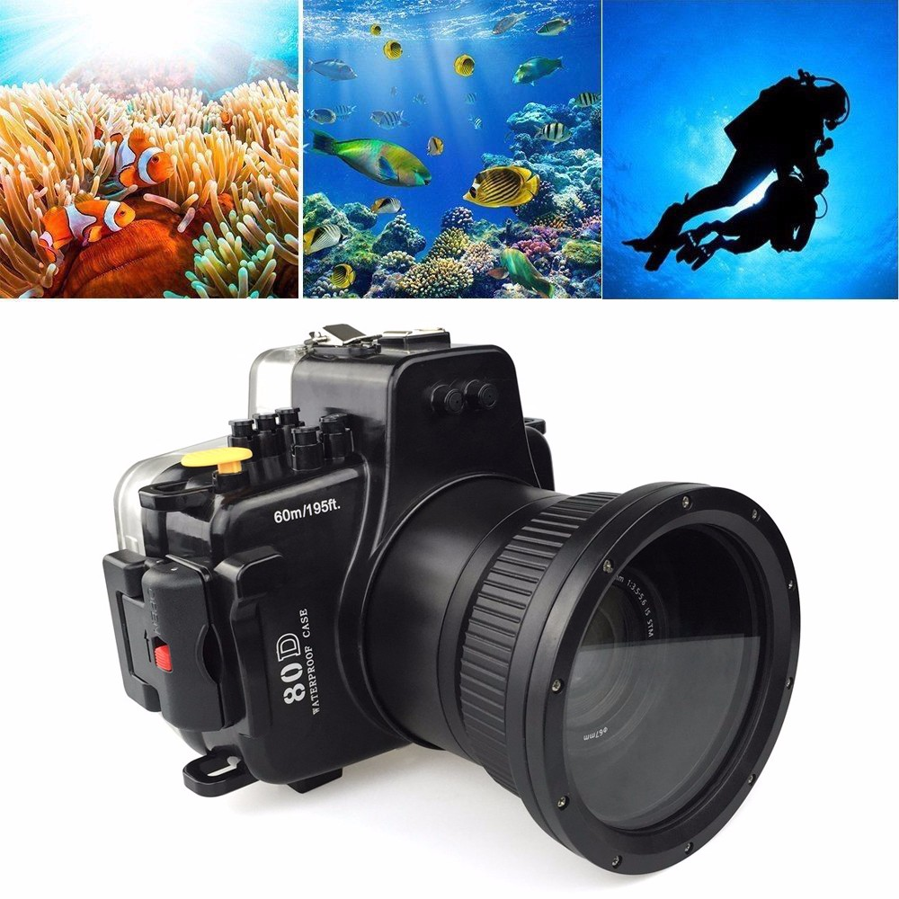 Meikon 60M Waterproof Underwater Camera Housing Case for Canon EOS 80D Action Camera Accessories Cam Case meikon 40m 130ft waterproof underwater camera housing diving case for canon eos 80d digital dslr camera scuba suits