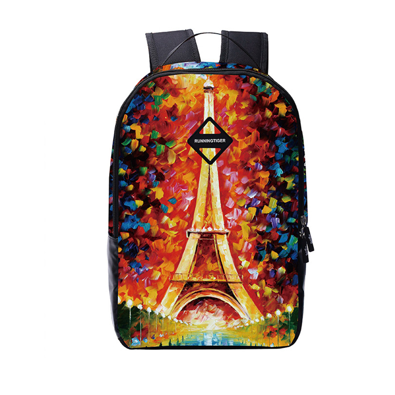 eiffel tower female printing backpack women travel bags high school bags for girls casual shopping bag