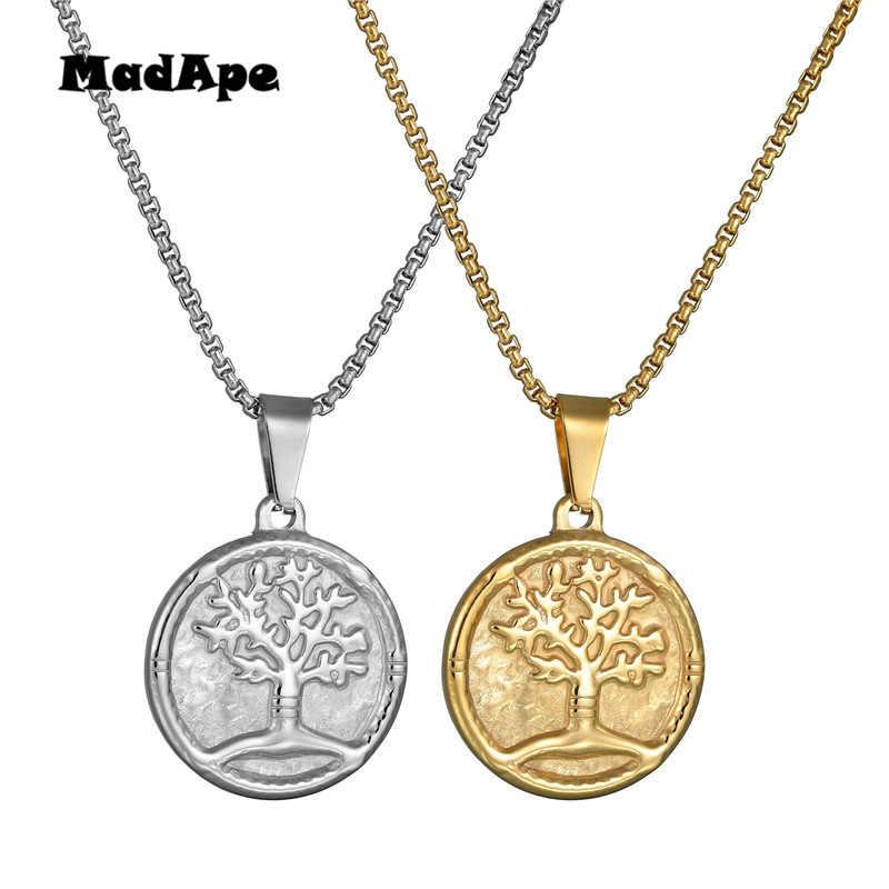 MadApe สร้อยคอและจี้แฟชั่น Tree Of Life สร้อยคอสำหรับผู้หญิงสีทองยาว Chain เครื่องประดับ