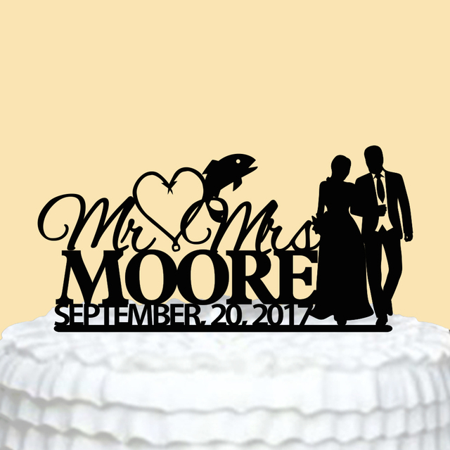 Personalized Wedding Cake Topper with Fish Custom Mr Mrs Cake Topper ...