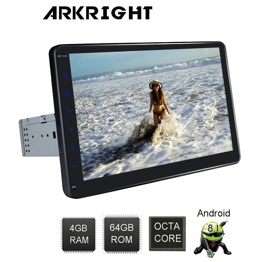 ARKRIGHT 10'' 1Din 4+64GB Octa Cores Car player Universal car Head Unit Android 8.1 Car Radio Stereo Audio Multimedia Player DSP