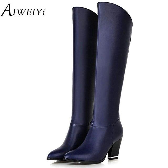 8ca6024d9b20 AIWEIYi Women Boots Autumn Winter Hot Fashion Ladies Sexy Knee High Boots  Zipper Long Boots Thick High Heels Leather Women shoes