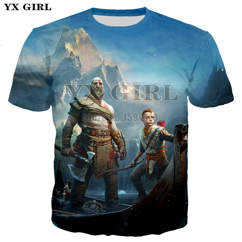 YX GIRL 2018 summer New style Fashion 3d t shirts Classic Action game God of War print T-Shirt Women/Men casual tees tops