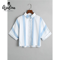 AZULINA Striped Button Down Loose Shirt Blouse Women Casual Shirt Collar Cotton Crop Top Ladies Tops