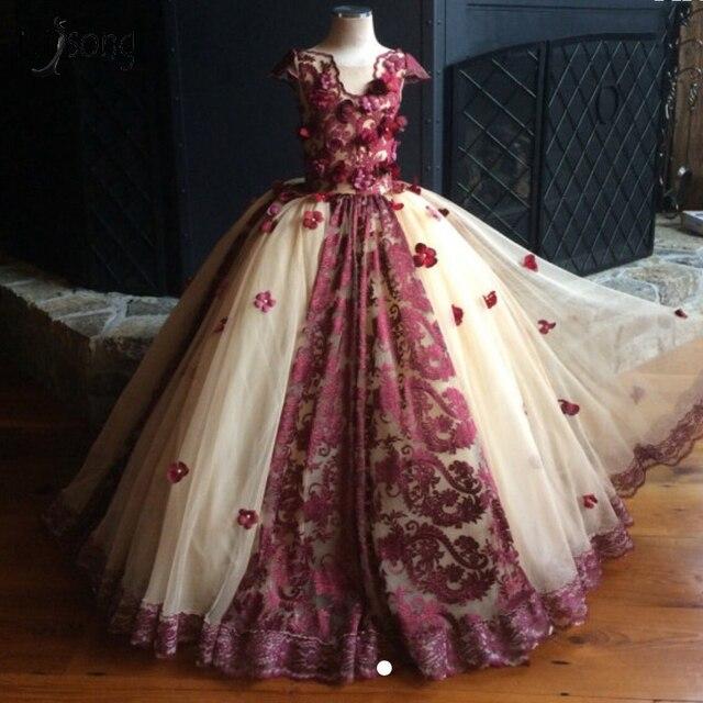 03aff9774 Vestido de color vino y crema flor 3 D inflado niños desfile vestido  Primera Comunión vestidos