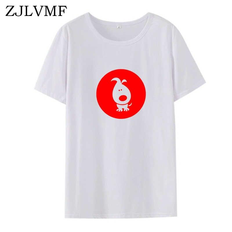 Zjlvmf Whimsical Chó Áo Nữ Thời Trang Hàn Quốc Ngộ Nghĩnh Bông Tai Kẹp Bông Nữ Áo Thun Hoạt Hình Đồ Họa In Hình Nữ Áo