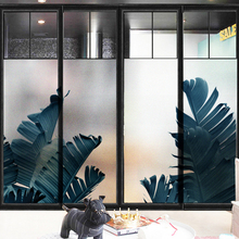 Nordic Tropical plant banana leaf frosted glass stickers Bathrooms balcony door windows electrostatic transparent opaque film