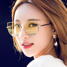 MARC Sunglasses Cat Eye Women Sun glasses Ocean lens Summer Trendy Brand Female Blue Designer Pesonality Mirror classic Retro