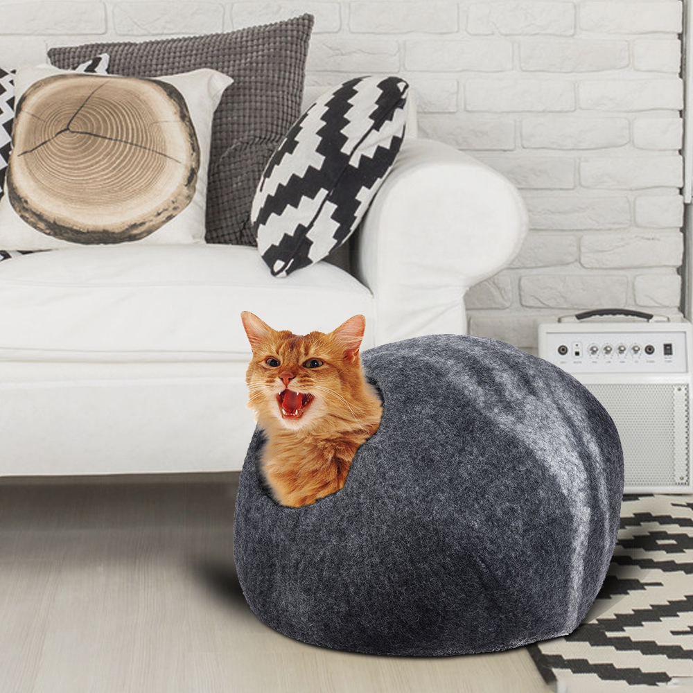 Handcrafted Felted Wool Pet Cat Cave Bed Nest Soft Comfortable Dog Cat Self Warming Sleeping Bag