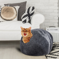 Handcrafted Felted Wool Pet Cat Cave Bed Nest Soft Comfortable Dog Cat Self Warming Sleeping Bag for Large Cats Kittens House