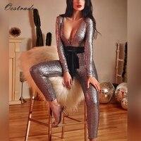 Ocstrade Nieuwe Collectie 2018 Mode Stretch Bodycon Party Mesh en Sequin Sexy Diepe V Lange Mouwen Jumpsuit voor Vrouwen