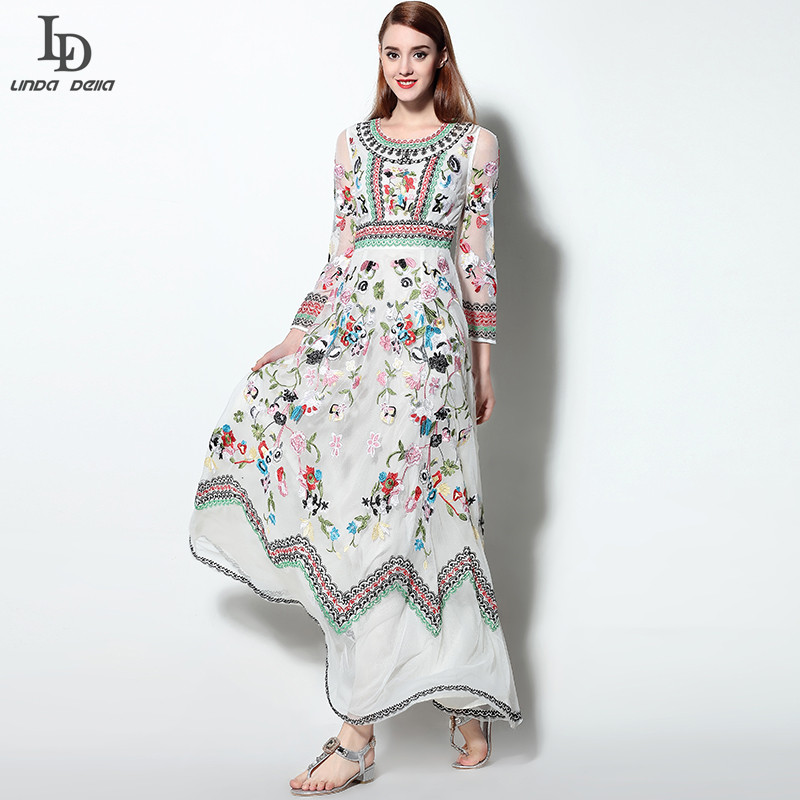 LD LINDA DELLA Classic Autumn Winter Runway Designer Dress Women's Long sleeve Gauze Retro Noble Floral Embroidery Long Dress